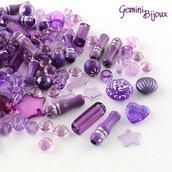 Lotto 50 grammi perle acrilico mix di forme, purple