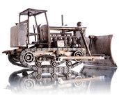 Scultura trattore di metallo