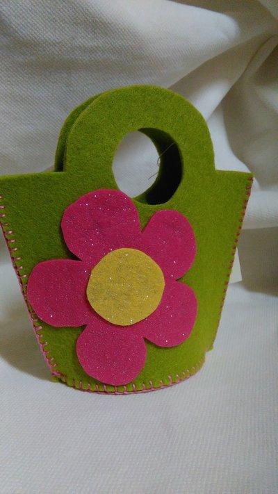 Borsetta fiorellone fuxia