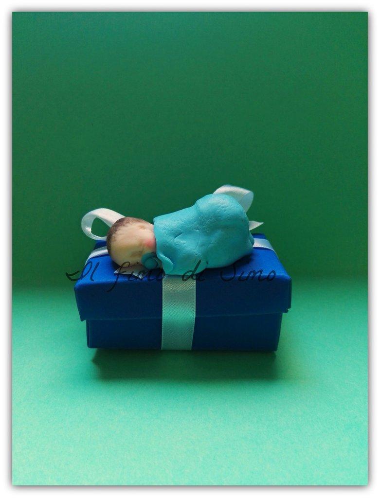 bomboniera nascita battesimo neonato in pasta polimerica