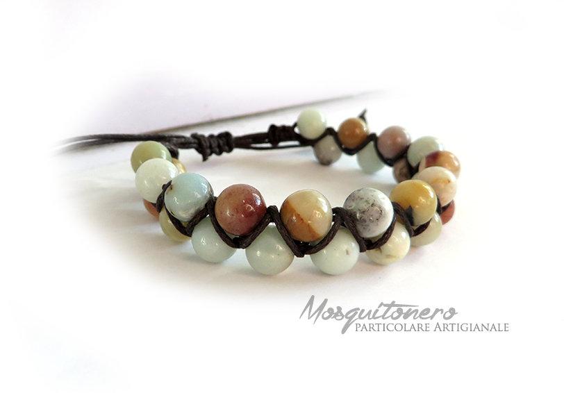 Bracciale In perle Amazzonite Naturale e lavorazione in macrame