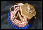Collana all'uncinetto a girocollo con catena, strass e swaroski rosa ,corallo, blue elettrico