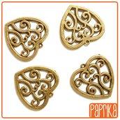 2 Charms Cuori cuori bronzo