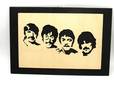 QUADRO BEATLES TRAFORATO FATTO A MANO IN LEGNO EUROPEO