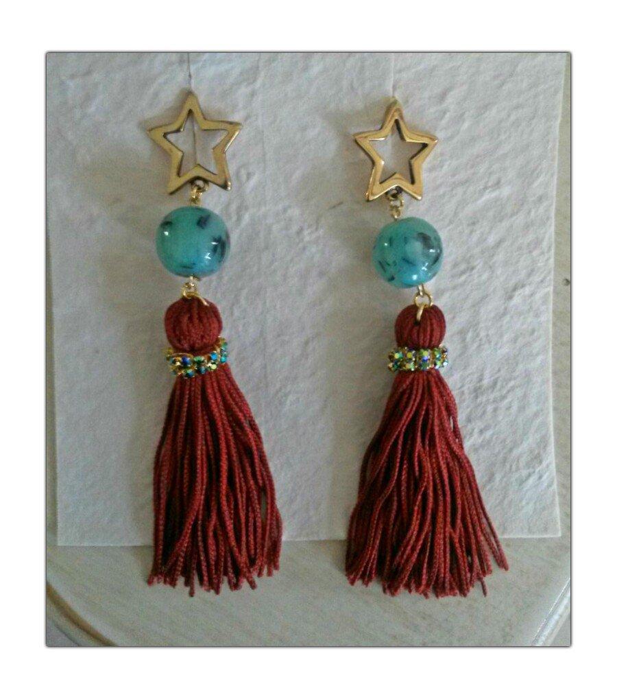 Orecchini  metallo, swarovki , nappino color ruggine con perla azzurro