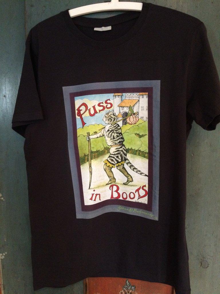 maglietta in cotone nera stampata