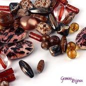 Lotto 50 grammi perle acrilico mix di forme, marrone