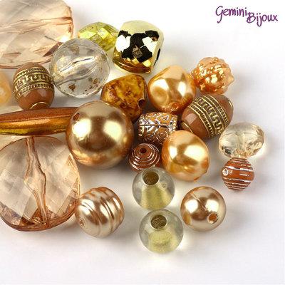Lotto 50 grammi perle acrilico mix di forme, gold