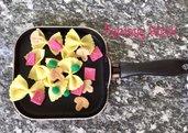 farfalle prosciutto piselli e funghi, gioco in feltro