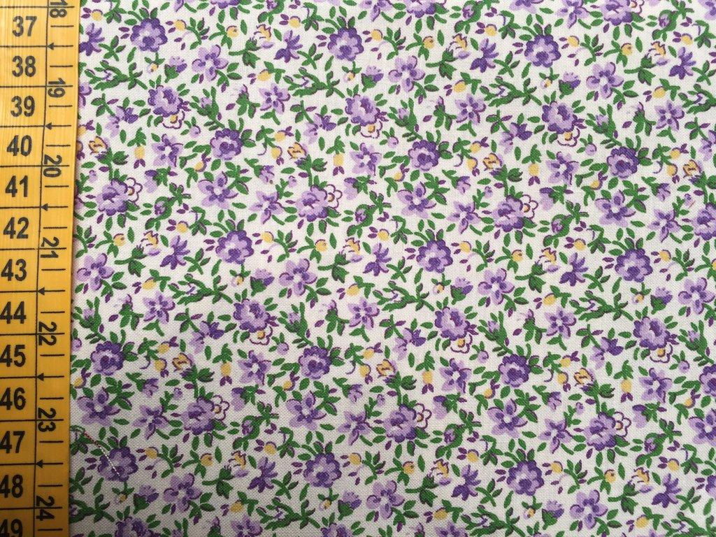 TESSUTI AMERICANI PER REALIZZAZIONI PATCHWORK - fiorellini lilla, viola e giallo (1)