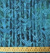 TESSUTI AMERICANI PER REALIZZAZIONI PATCHWORK - batick blu/azzurro con canne di bambu'