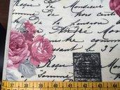 TESSUTI AMERICANI PER REALIZZAZIONI PATCHWORK - rose, scritte e mulini - leggermente felpato