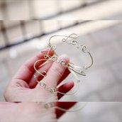 Amore braccialetto filo corsivo Argento 925