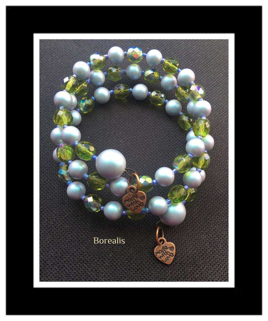 Bracciale Molla Armonica Perle Swarovski Cristalli di Boemia