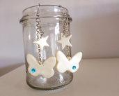 Farfalla e stella bianco perla brillantino azzurro - orecchini lunghi