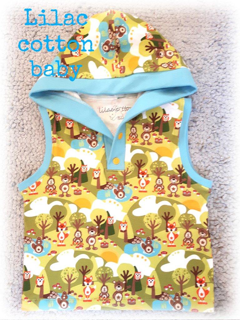 cartamodello canotta-felpa con cappuccio per bambino