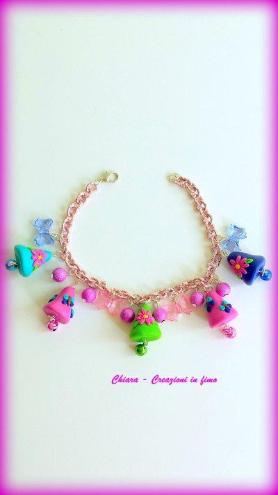 Bracciale pasquale in alluminio colori pastello campanelle in fimo fatti a mano kawaii idee regalo Pasqua