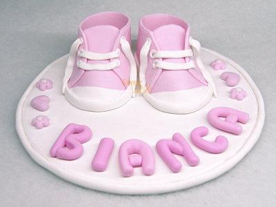 Cake topper con scarpine rosa nascita battesimo bambina bimba