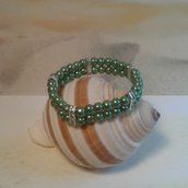 Bracciale elastico perle verdi