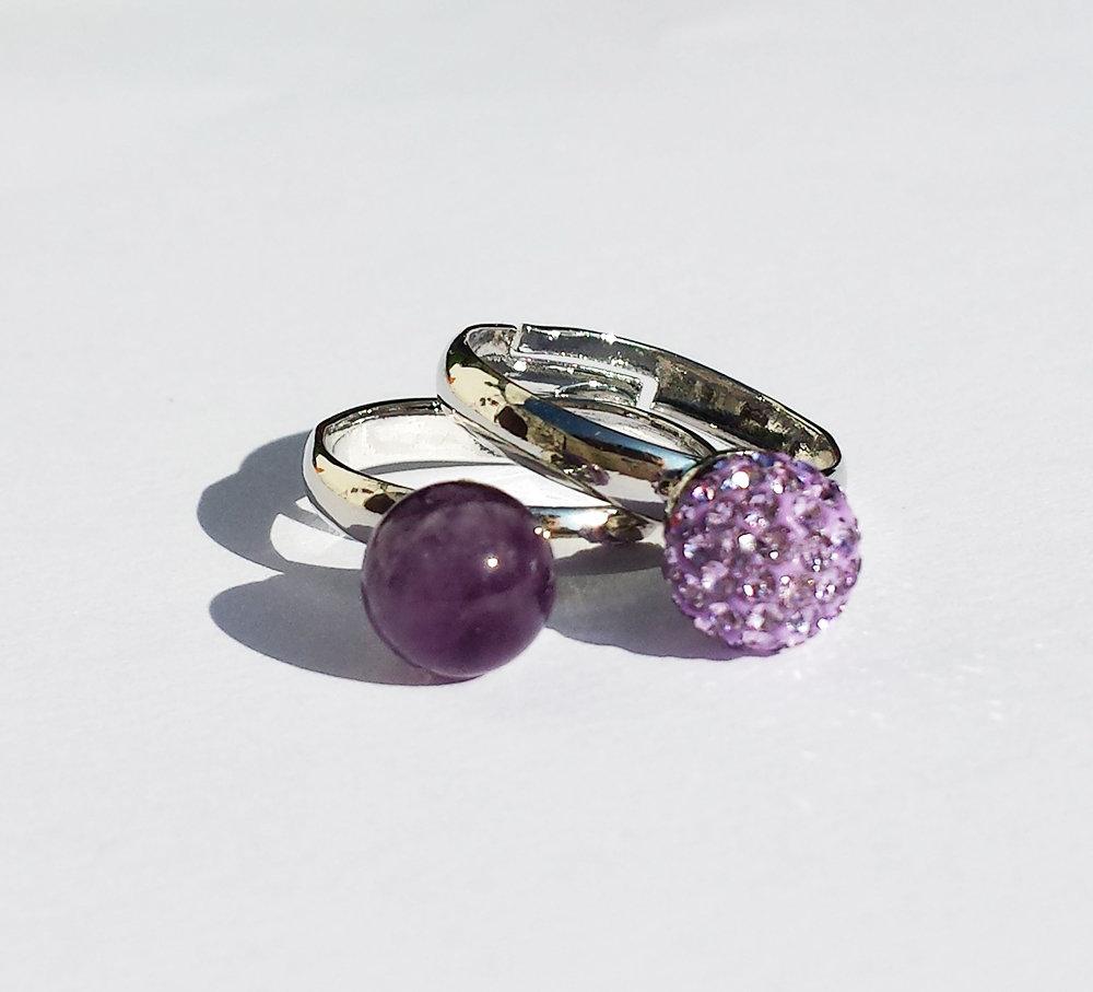 Coppia Anelli con Ametista e perla pavè di cristalli