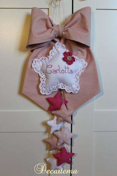 Fiocco nascita bimba stelle e fiorellino rosa antico