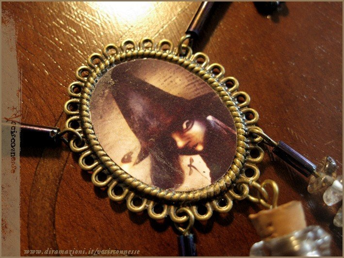 Firefly witch necklace illustration magic bottle vial gemstone STREGA LUCCIOLA