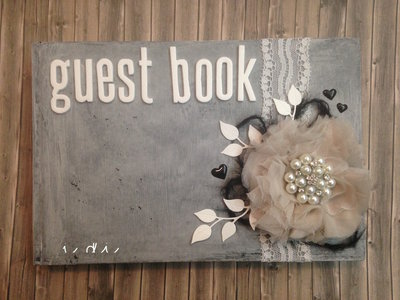 Guest book shabby country chic piccolo