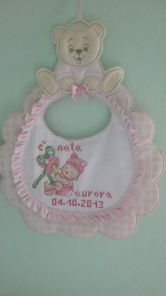 Fiocco nascita bambina punto croce
