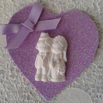 Segnaposto matrimonio sposi gessetto e cuore