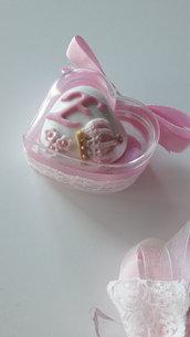 cuoricino confetti decorati - segnaposto battesimo - confettata nascita - confettata battesimo  -  bomboniere originali - bomboniere economiche - bomboniere nascita