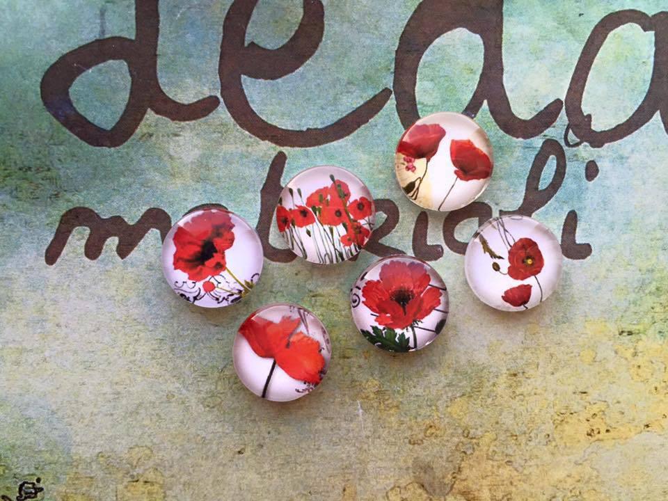 Lotto 6 cabochon Fiori rossi mod.063