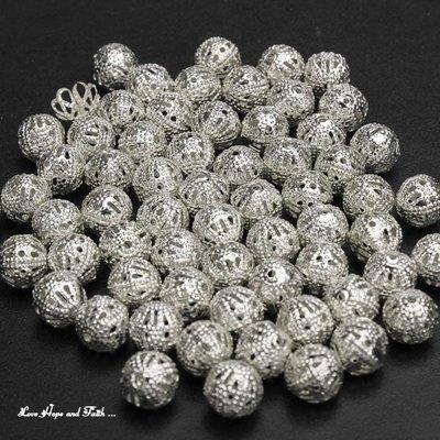 """NOVITA'! LOTTO 40 perle """"filigranate"""" color argento (8mm) (cod. new)"""
