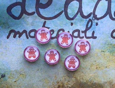 Lotto 6 cabochon Omino biscottino mod.072