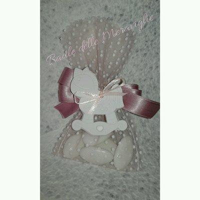 Bomboniera battesimo nascita femminuccia sacchetto Con gessetto