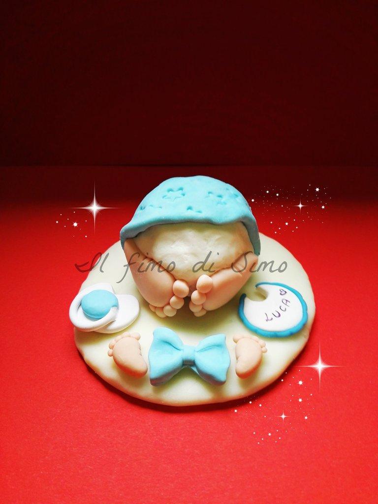 cake topper sederino coulotte bimbo in pasta polimerica per nascita e battesimo