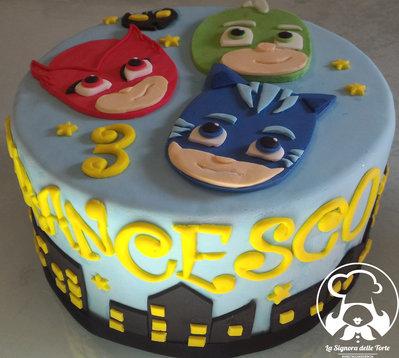 TOPPER per torta SUPER PIGIAMINI_PJ MASKS_COMPLEANNO_personalizzato NOME ed ANNI