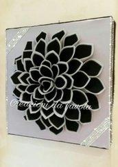 Quadro con rosa 3d nero e argento