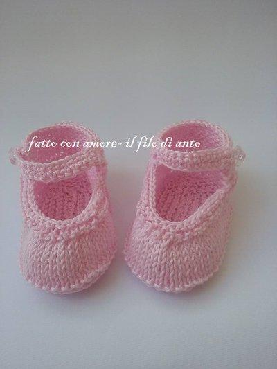 Scarpine tipo ballerina rosa fatte a maglia