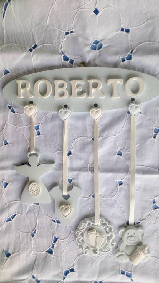 targa nome nascita bimbo in gesso ceramico extraduro