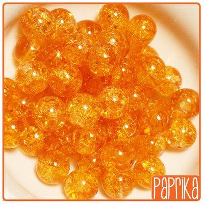 10 Perline vetro Crackle arancio 10mm