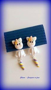 Orecchini da lobo in fimo handmade Unicorni kawaii miniature idee regalo amica compleanno