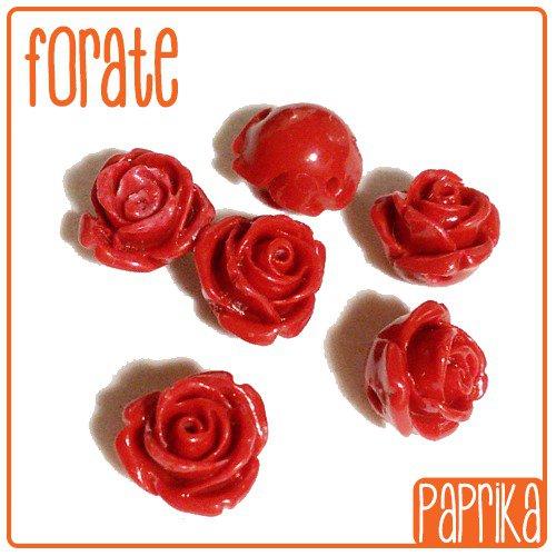 6 Perline Rose forate 10mm