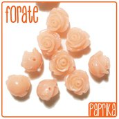 6 Perline Rose forate 10mm