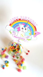 Cake topper Unicorno Buon Compleanno