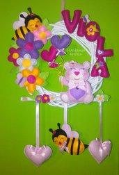 Ghirlanda fiocco nascita orsetto con api e fiori Handmade KriTiLo