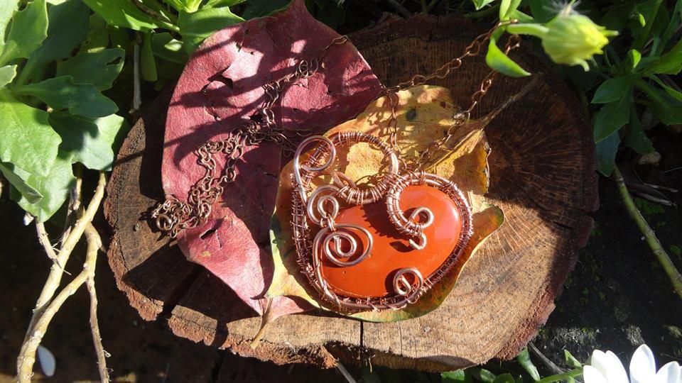 <3 Ciondolo a forma di cuore di Diaspro Rosso scarica, carica energia... <3