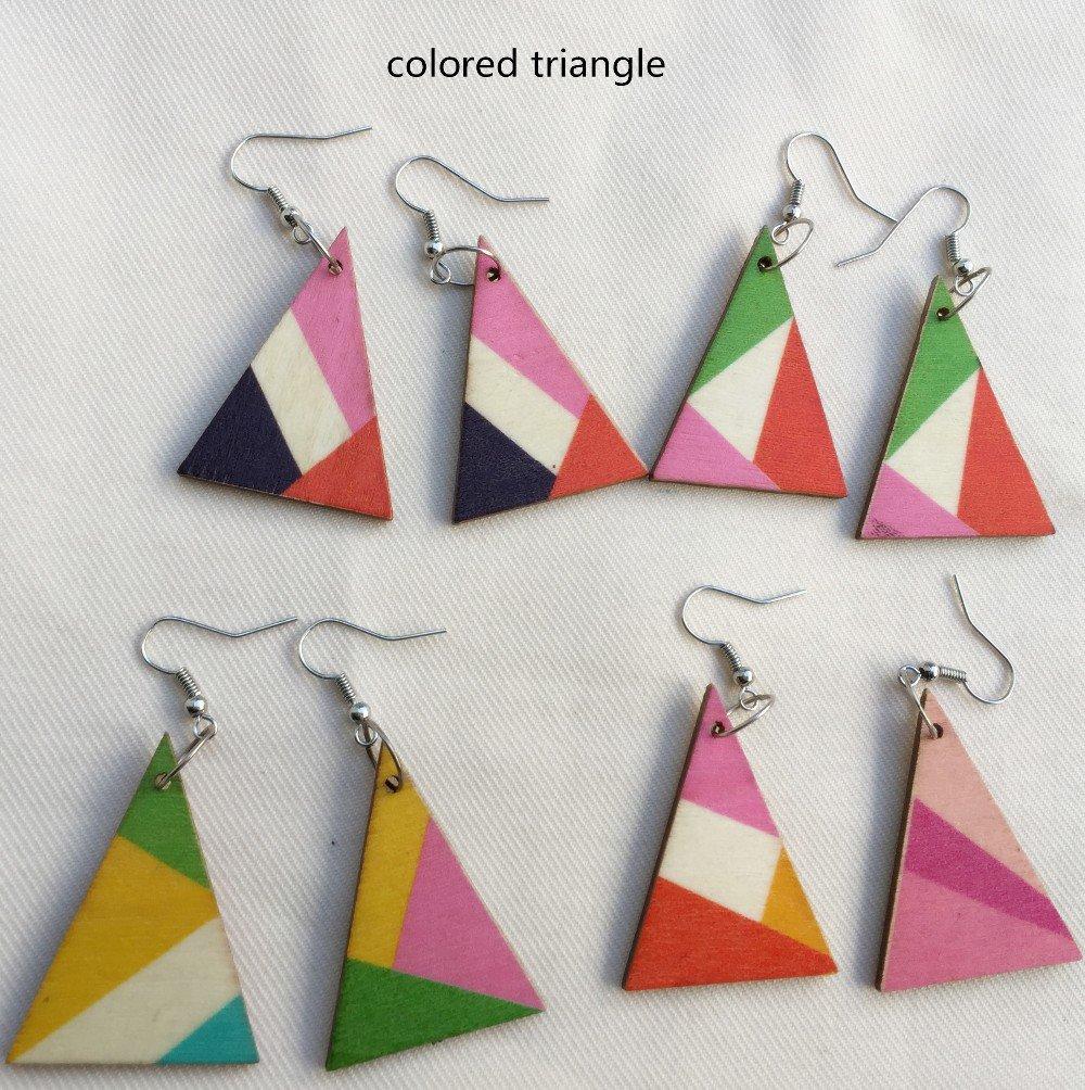 orecchini triangolo legno colorato vintage etnico art decò anallergico idea regalo