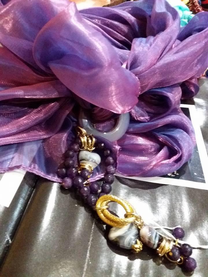 foulard viola lurex