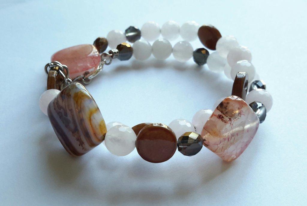 Bracciale armonico con pietre dure di quarzo rosa