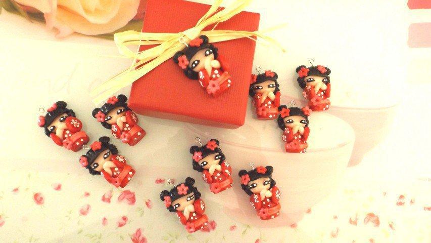 INSERZIONE RISERVATA PER SAMANTHA - 30 kokeshi bomboniere laurea complete scatola confetti bigliettino